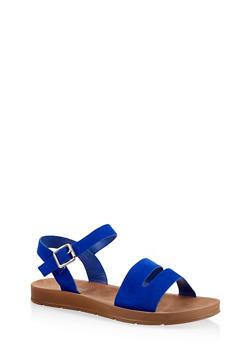 Asymmetrical Ankle Strap Sandals - Blue - Size 6.5 - 1110004066278