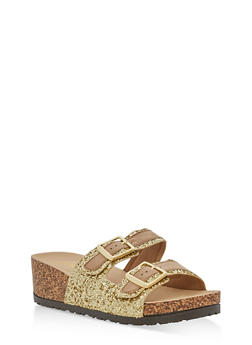 Double Strap Glitter Footbed Wedge Sandals - GOLD GLITTER - 1110004066287
