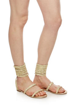 Coiled Rhinestone Studded Sandals - 1110004066296