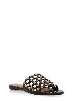 Faux Patent Leather Studded Sandals - BLACK PATENT - 1110004066297
