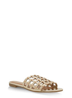 Faux Patent Leather Studded Slide Sandals - GOLD PATENT - 1110004066297