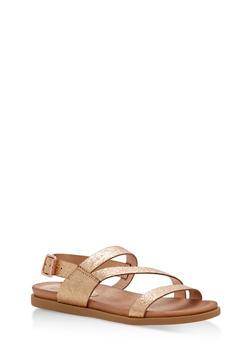 Asymmetrical Strap Sling Back Sandals - ROSE GOLD CRF - 1110004066476