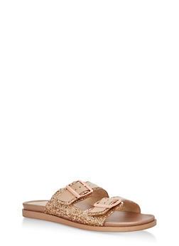 Double Buckle Glitter Slide Sandals - ROSE GOLD GLITTER - 1110004066477