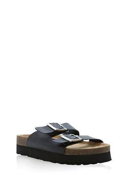 Double Buckle Slide Sandals - 1110004066480