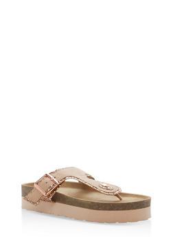 Glitter Trim Platform Thong Sandals - ROSE GOLD GLITTER - 1110004066481