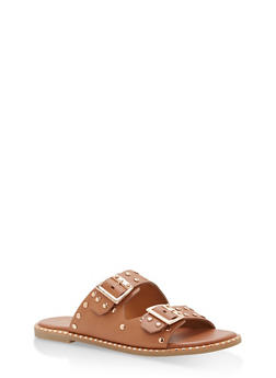 Studded Double Strap Sandals - TAN CRP - 1110004066505