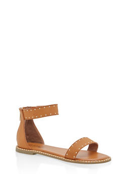 Studded Ankle Strap Sandals - TAN BNH - 1110004066507