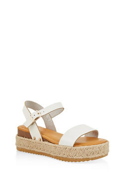 Single Band Platform Espadrille Sandals - WHITE - 1110004066683