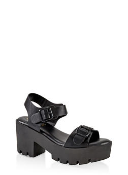 Double Buckle Chunky Platform Sandals - BLACK - 1110004066736