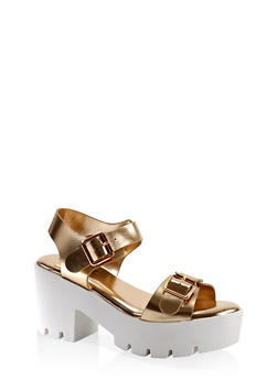 Double Buckle Chunky Platform Sandals - 1110004066736