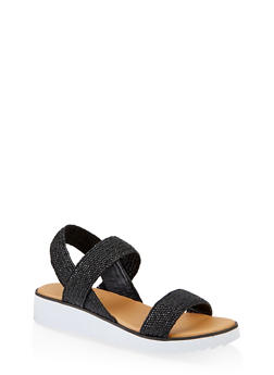 Striped Elastic Band Platform Sandals - BLACK - 1110004067298