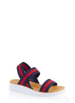 Striped Elastic Band Platform Sandals - NAVY - 1110004067298