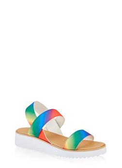 Elastic Band Platform Sandals - 1110004067298