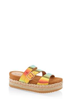 Strappy Platform Slide Sandals - 1110004067474