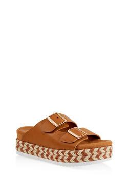 Double Strap Platform Sandals - TAN - 1110004067475