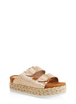 Double Strap Platform Sandals - ROSE - 1110004067475
