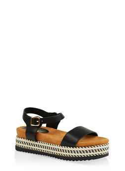 Ankle Strap Platform Slide Sandals - BLACK - 1110004067477