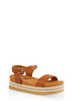 Ankle Strap Platform Slide Sandals - TAN - 1110004067477
