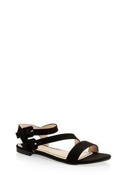 Asymmetrical Double Buckle Sandals - 1110004067755