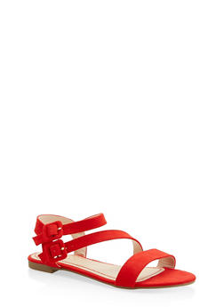Asymmetrical Double Buckle Sandals - 1110004067755