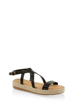 Criss Cross Ankle Strap Espadrille Sandals - 1110004067894