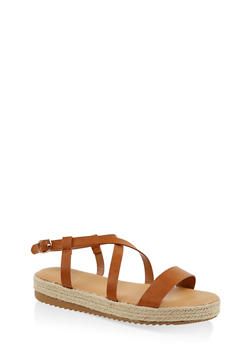 Criss Cross Ankle Strap Espadrille Sandals - 1110004067894