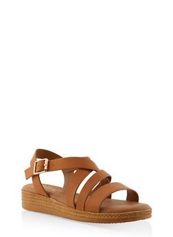 Strappy Platform Sandals - TAN - 1110004068276