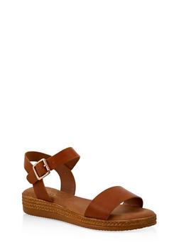Platform Ankle Strap Sandals - TAN - 1110004068277