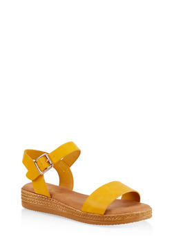 Platform Ankle Strap Sandals - YELLOW - 1110004068277