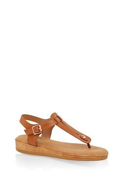 Cut Out Memory Foam Thong Sandals - TAN - 1110004068278