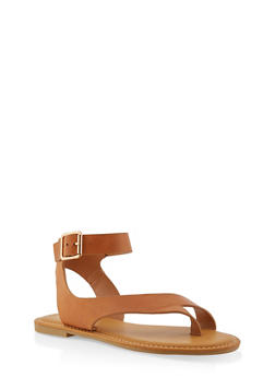 Toe Ring Ankle Strap Sandals - TAN - 1110004068484