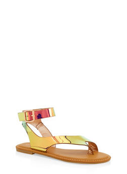 Toe Ring Ankle Strap Sandals - PINK - 1110004068484