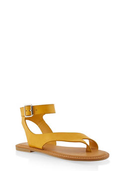 Toe Ring Ankle Strap Sandals - YELLOW - 1110004068484