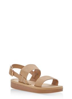 Double Band Slingback Sandals - NATURAL NUBUCK - 1110004068771