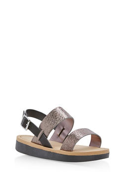Double Band Slingback Sandals - PEWTER CMF - 1110004068771