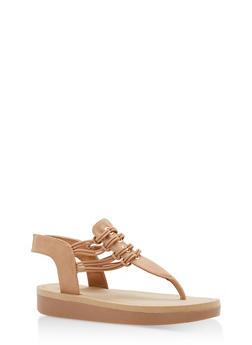 Stretch Cord Platform Thong Sandals - CAMEL NUBUCK - 1110004068773
