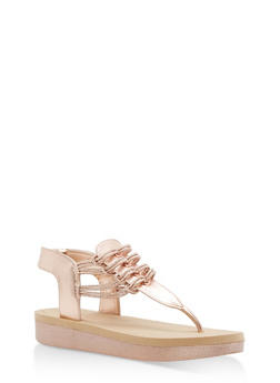 Stretch Cord Platform Thong Sandals - ROSE GOLD CRP - 1110004068773