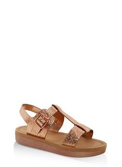 Double Band T Strap Platform Sandals - ROSE GOLD CMF - 1110004068776