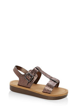 Double Band T Strap Platform Sandals - PEWTER CMF - 1110004068776