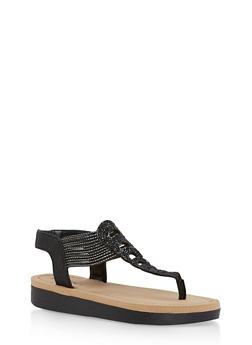 Rhinestone Studded Platform Thong Sandals - BLACK GLITTER - 1110004068777