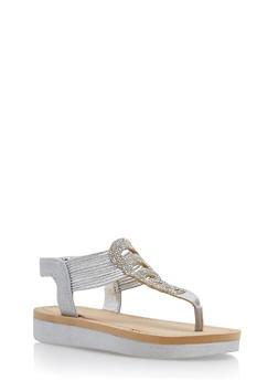 Rhinestone Studded Platform Thong Sandals - SILVER GLITTER - 1110004068777