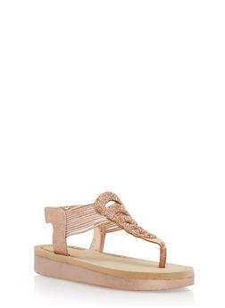 Rhinestone Studded Platform Thong Sandals - ROSE GOLD GLITTER - 1110004068777