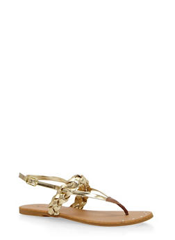 Braided Thong Sandals - GOLD - 1110029912732