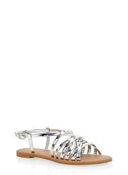 Strappy Faux Leather Sandals - 1110029912854
