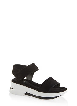 One Band Sporty Ankle Strap Sandals - BLACK - 1110040522210