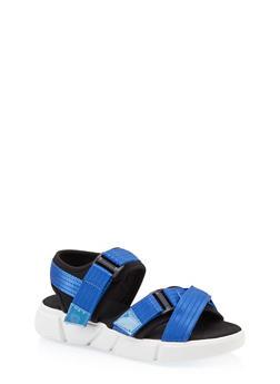 Cross Band Velcro Strap Sporty Sandals - 1110056632700
