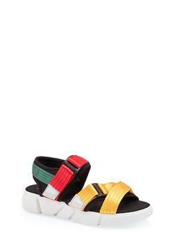 Cross Band Velcro Strap Sporty Sandals - 1110056632700