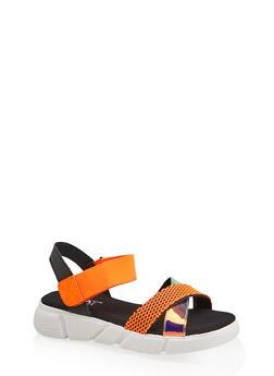 Criss Cross Strap Sporty Platform Sandals - ORANGE - 1110056632701
