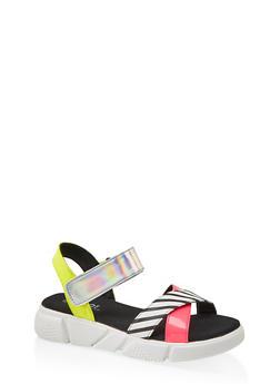 Criss Cross Strap Sporty Platform Sandals - 1110056632701