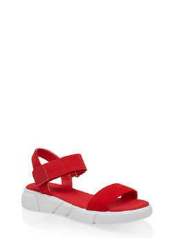 One Band Sporty Velcro Ankle Strap Sandals - 1110056632702